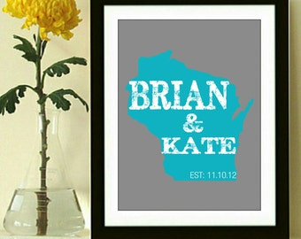 Custom State Art Print - Couples Name wedding gift - anniversary gift - engagement gift - Any State