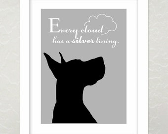 Great Dane Art Print, Modern Wall Decor, Great Dane Silhouette