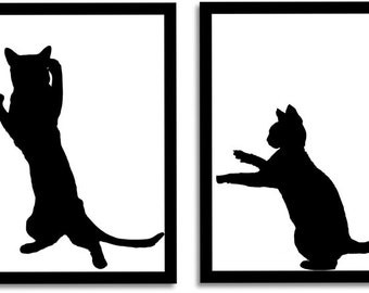 Cat Art Print, Black Cat Art, Cat Artwork, Black Cats, Cat Silhouette