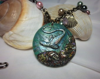 Nautical Necklace, Sea Serpent  Necklace, Sea Life, Summer Jewelry, Under the Sea, Shells, Wearable Art, OOAK