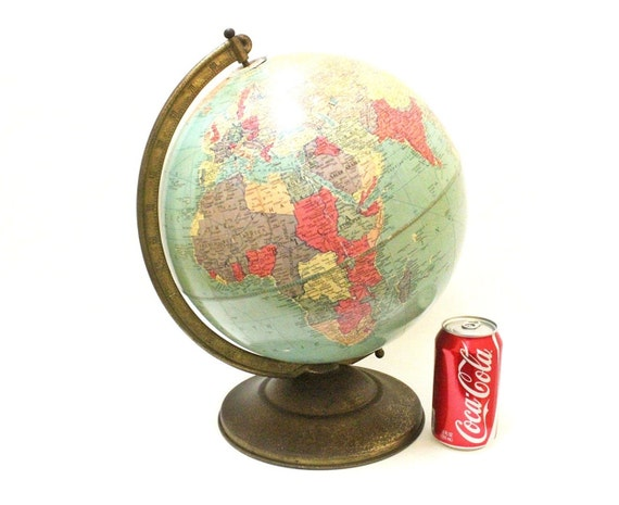 Beautiful Antique 1940s Replogle Globe with Metal Stand / Made in USA