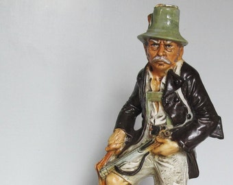 Vintage Bar Decanter Pottery Vessel Deer Hunter Crabby Old Man 1971
