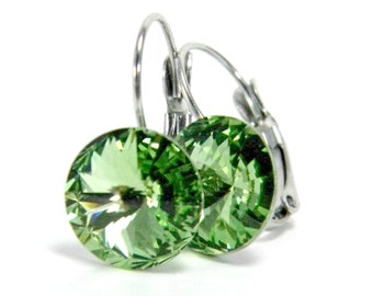 Peridot Leverback Earrings  Light Green Swarovski Crystals on Hypoallergenic Stainless Steel Drop Earring  Birthstone Beaded Jewelry