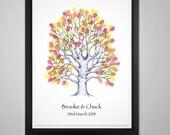 "A3 16.5 x 11.5"" Hand Drawn Oak Fingerprint Tree Guest Book - up to 150 guests"