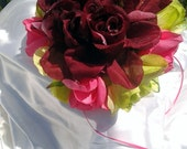 Wedding bouquet silk flower bouquet green burgundy and pink bridal bouquet
