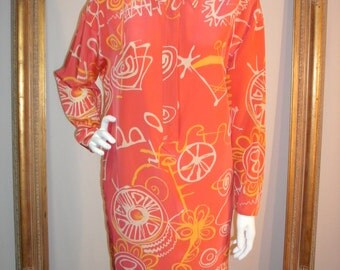 Vintage 1980's Anne Cummings Salmon Colored Silk Print Dress - Size 8