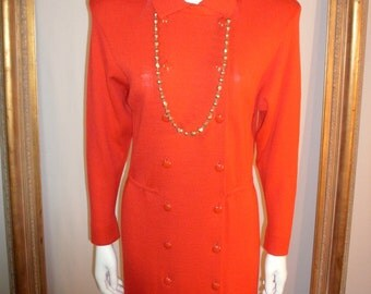 Vintage 1980's St. John Red Knit Dress - Size 8