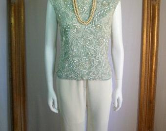 Vintage 1960's Seafoam Green Sleeveless Top - Size 10