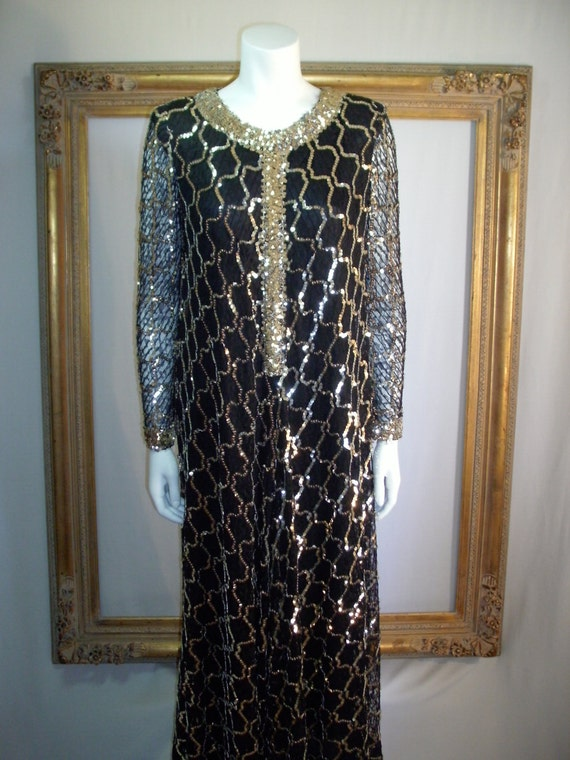 Vintage 1960's Anne Fogarty Black Lace Dress with Silver Sequins - Size 14