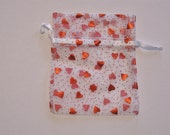 Set of 10 Red Hot Hearts (5x6) Organza Bags