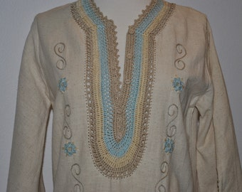 Vintage 1960's Crochet and Muslin Dress Bohemian Pool Side Lounge Wear