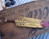 distressed yellow w/red tip hand carved Leather feather keychain, key fob, talisman & all around good luck charm :)