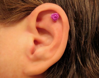 """No Piercing """"Tiny Rose"""" Magnetic Cartilage Earring 1 Earring - Not a Pair"""