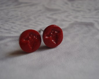 Red   Medical Caduceus    Post Earrings Set On Sterling Silver Post Size 7-8mm