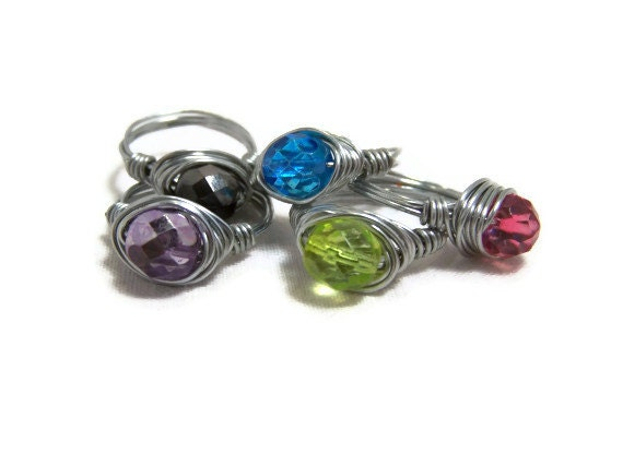 Czech Fire Polished Faceted Glass Ring. Pick a size