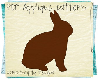 Bunny Applique Pattern - Chocolate Applique Template / Easter Shirt Design / Baby Clothing Template / Holiday Baby Quilt Pattern AP93-D