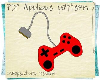 Fabric Applique Template - Video Game Applique Pattern / Boy Gamer Iron on / Baby Shirt Applique / Kid Clothing Design / Nursey Quilt AP20-D