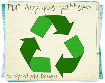 Recycle Applique Pattern - Earth Day Applique Template / Green Shirt Design / Recycle Quilt Pattern / Wall Hanging / Kids Clothing AP98-D