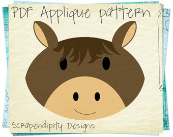 Horse Applique Pattern - Farm Applique Template / Horse Quilt Pattern / Kids Farm Bedding / Nursery Blanket / Quiet Book Template AP226-D