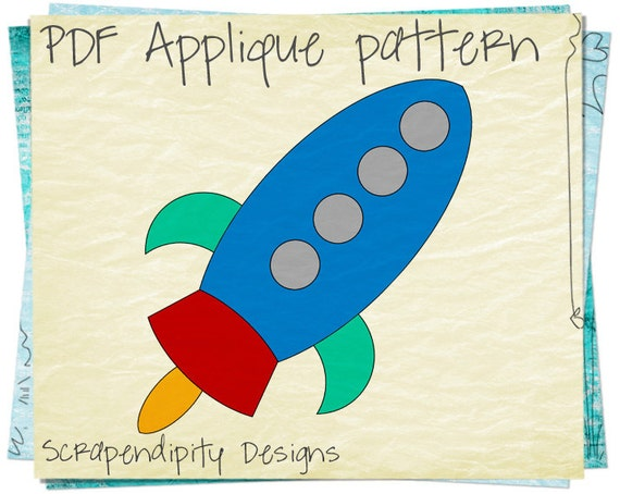 Items Similar To Rocketship Clothing Applique Template