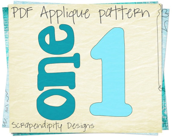 One Baby Applique Template - Number One Applique Pattern / Birthday ...
