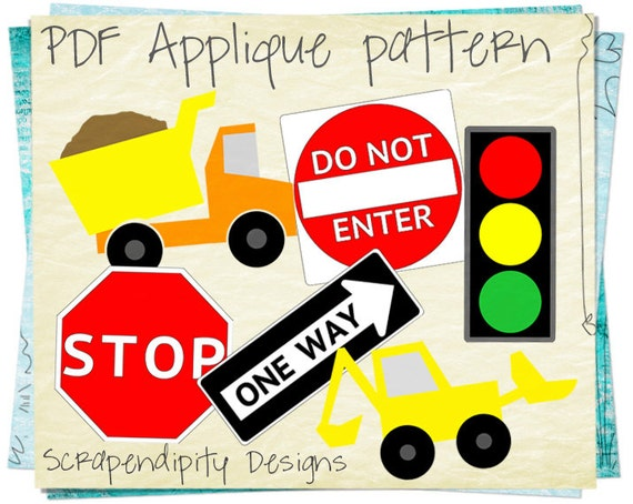 Construction Applique Pattern Bundle - 6 Applique Templates / Dump Truck Shirt / Baby Nursery Quilt / Cute Baby Clothes / Boy Wall Hanging D