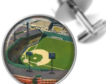 Cufflinks Baseball Stadiums Fenway Park Boston from Vintage Postcard Handmade Cuff Links