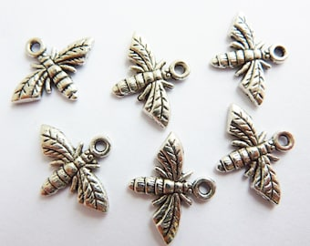 12 pendants, charms, bee 17x14mm, antique silver