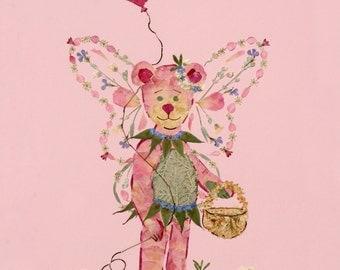 Beary Faery - Childrens Fantasy Art - Original OOAK - Fine Art Giclee Print