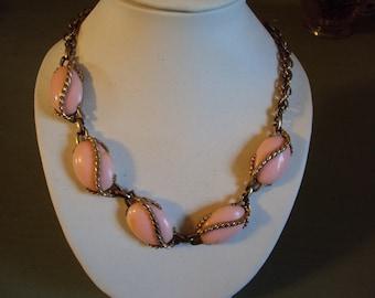 Vtg 50s Demi Parure Necklace Bracelet Easter Pink Demi Parure