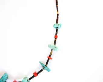 Vintage Necklace Coral, Turquoise Heishi Bead and Silver Choker