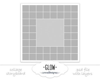 Photo Collage Templat, 20x20 Glow Storyboard for photographers, 49 pictures
