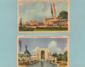 Texas centennial exposition two color postcards of buildings at fair dated 1936 vintage ephemera