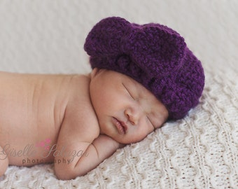 Purple  Baby Beret with Bow
