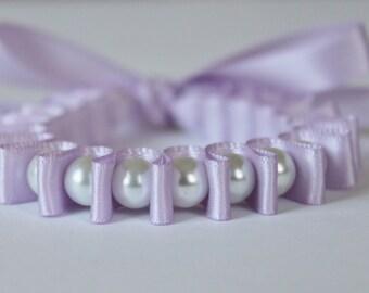 White Pearl & Lavender Ribbon Bella Bracelet