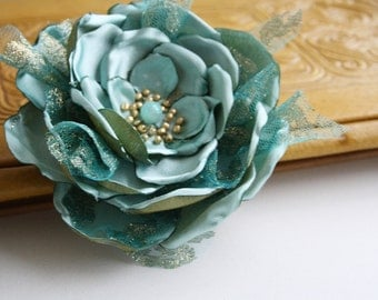 Mint Gold Hand Made Flower Brooch,Hair,Hat or Handbag Accessory Satin and Lace