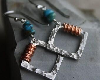 Turquoise Pebble Earrings- Hammered Silver Earrings, Copper Wrap, Mixed Metal Earrings