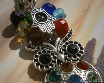 Hamsa Hand, Chakra and Rhinestone Owl BAG CHARM- Hand of Fatima Purse Fob,  Protection Key Ring, Yoga Bag Charm, Balance of Energy Keychain