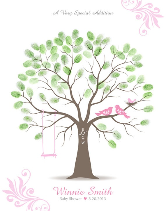 baby shower thumbprint tree guest book alternative nursery wall art