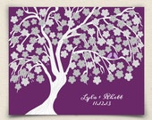 Wedding Guest Book Alternative - Cherrywik Multi Tree - Peachwik Interactive Art Print - 100 guest sign in - Sakura Cherry Blossom Guestbook