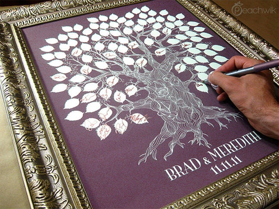 Wedding Signature Tree - The Oakwik - A Peachwik Interactive Art Print - 125 guest sign in - Wedding Oak Tree Rustic Guestbook Print