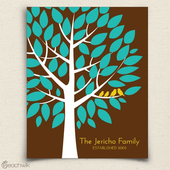Personalized Family Tree - The Famwik - A Peachwik Art Print  Keepsake Housewarming Gift - Personalized Family Art Print  - Birds in a Tree
