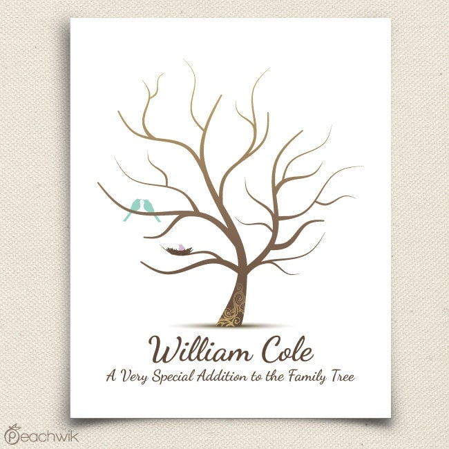 Thumbprint Tree Guest Sign: Fingerprint Baby Shower Tree Thumb Print Guest Book By