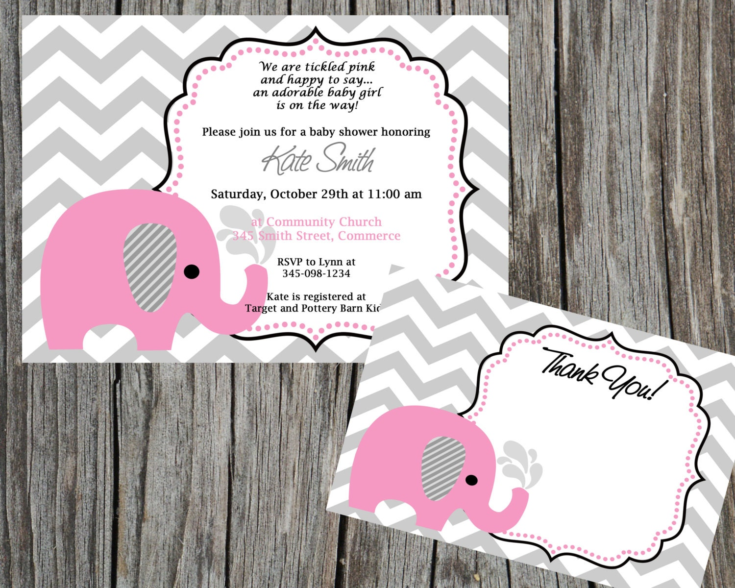 combo special pink elephant and chevron baby shower