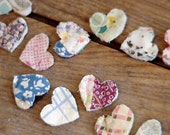 Valentine Heart Appliques, Vintage Primitive Shabby Cotton Scrap Cutter Quilt Tiny Old Patchwork Embellishments, Craft Supply itsyourcountry
