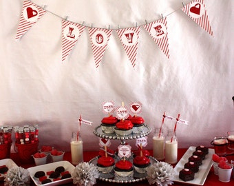 Valentine's Day Party Banner So Sweet Love INSTANT DOWNLOAD