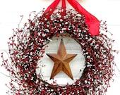 Summer Wreath-4th of July Wreath-Star Wreath-Primitive Home Decor-Holiday Door Wreath-Rustic Home Decor-Scented Door Wreath