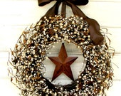 RUSTIC STAR Door Wreath-Rustic Home Decor-Primitive Door Wreath-Primitive Country-Door Decor-Scented Mulled Cider-Choose Scent and Ribbon