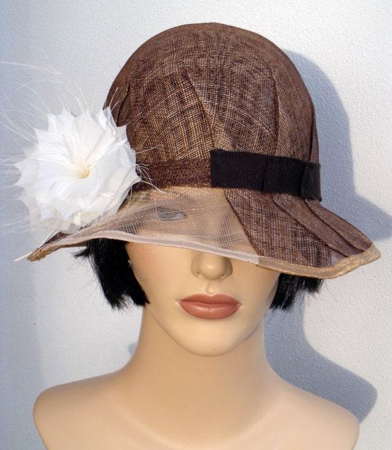 Flapper hat, brown sinamay cloche with veil effect, wedding hat, sun hat, retro hat, vintage hat, 20s wedding, garden party, great Gatsby