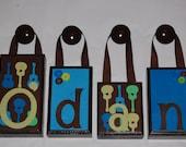 1 Letter Groovy Guitar Brown Wood Teal Name Block Set